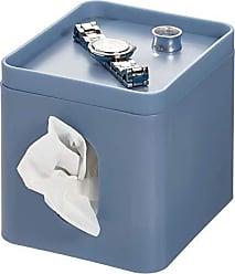 InterDesign Cade Facial Tissue Cover, Boutique Box Bathroom Holder for Vanity, Countertops, Desk, Office, Dorm, Dusty Blue