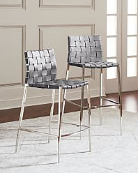 Interlude Home Kennedy Stainless Woven Leather Bar Stool, Gray
