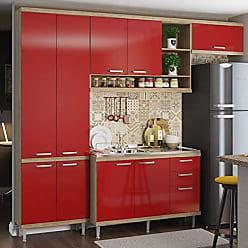 Multimóveis Cozinha Completa com Balcão sem Tampo 4 Peças 9 Portas Sicília Multimóveis Argila/Vermelho