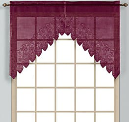 United Curtain Valerie Lace Sheer Swags, 52 by 38-Inch, Burgundy, Set of 2