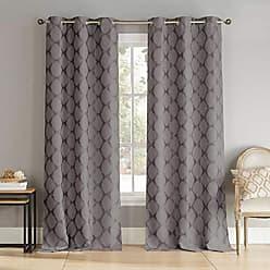 Duck River Textile Blackout365 Henrietta Heavy Geometric Blackout Window Curtain 2 Panels, 36 x 96, Grey