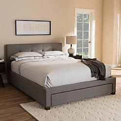 Baxton Studio Brandy Modern and Contemporary Grey Fabric Upholstered Platform Bed with Storage Drawer, Size: King,Queen - CF8774-GREY-QUEEN