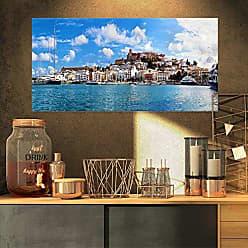 DESIGN ART Designart Panorama of Ibiza Spain-Cityscape Photo Canvas Art Print-32x16, 32x16