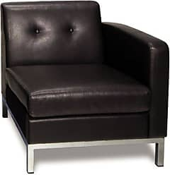 Office Star AVE SIX Wall Street Faux Leather Right Facing Armchair with Chrome Finish Base, Espresso