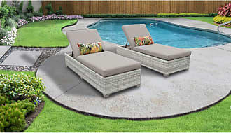 TK Classics Fairmont Chaise Set of 2 Outdoor Wicker Patio Furniture (Wicker - Beige)
