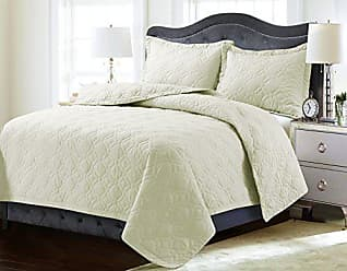 Marwah Corporation Tribeca Living LYONQUILTQUIV Lyon Solid Oversized Geometric Quilt Set, Queen, Ivory