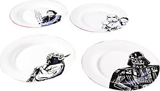 Zak designs Luke Skywalker & Darth Vader, Yoda & Stormtrooper, Ceramic 10.5 Plates, 4 pack set, Unique Black and White Designs, Star Wars Ep4 10in 4pc