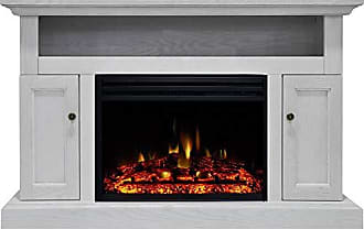 Cambridge Silversmiths Sorrento Heater with 47-in. White TV Stand, Enhanced Log Display, Multi-Color Flames and a Remote Control, CAM5021-2WHTLG3 Electric Fireplace