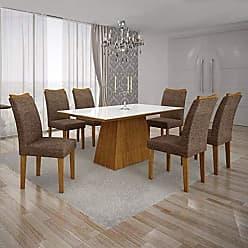 Leifer Conjunto Sala de Jantar Mesa Tampo MDF/Vidro Branco 6 Cadeiras Pampulha Leifer Imbuia Mel/Linho Marrom