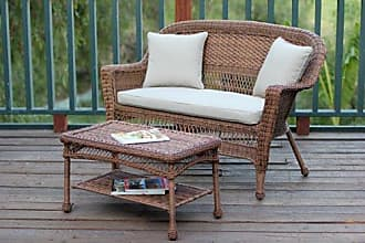 Jeco W00205-LCS006 Wicker Patio Love Seat and Coffee Table Set with Tan Cushion, Honey