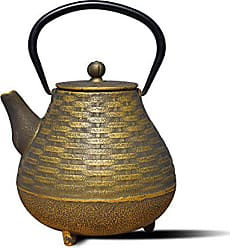 Old Dutch International Cast Iron Orimono Teapot, 41 oz, Black/Gold