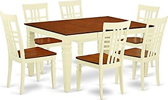 East West Furniture WELG7-BMK-W Weston 7 Pc Kitchen Set with a Dinning Table and 6 Wood Dining Chairs in Buttermilk and Cherry