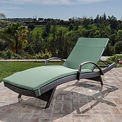Noble House Christopher Knight Home 296784 Salem Outdoor Chaise Lounge, Brown with Dark Green