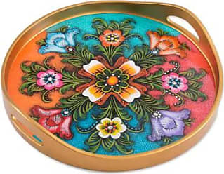 Novica Reverse-painted glass tray, Tulip Beauty in Multicolor