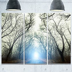 DESIGN ART Designart MT9752-3P Blue Light in Foggy Autumn Landscape Photo Metal Wall Art (3 Panels), 28 H x 36 W x 1 D 3P