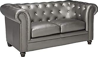 Coaster 551092-CO Roy Collection 67 Loveseat with Solid Wood Legs Reversible Seat Cushions Sinuous Spring Base Nail Head Trim Rolled Arms and Leatherette Upholstery, In Gunmetal