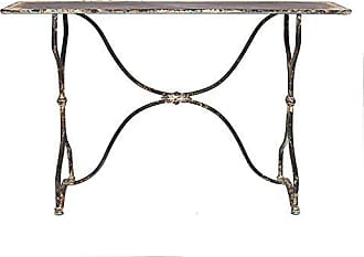 Creative Co-op Creative Co-op Distressed Black & White Metal Table, Black