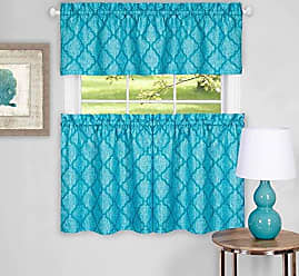 Sweet Home Collection 3 Piece Kitchen Curtain Set Contemporary Design with with Tier Pair and Valance, 24, Turquoise