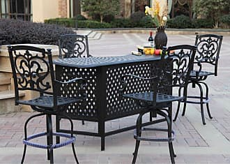 DARLEE Outdoor Darlee Santa Barbara 5 Piece Aluminum Party Bar Patio Dining Set - 201010-5PC-60K-AB