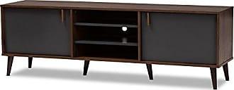Wholesale Interiors Baxton Studio 148-8669-AMZ Salubelle Tv Stand, Walnut Brown/Dark Grey