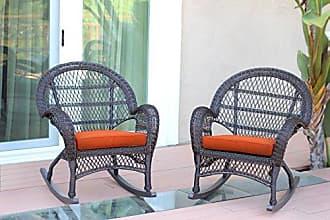 Jeco W00208-R_2-FS016-CS Wicker Rocker Chair with Orange Cushion, Set of 2, Espresso