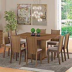 Madesa Conjunto Sala de Jantar Mesa e 8 Cadeiras Madesa Clarice Rustic/Pérola
