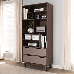 Baxton Studio Britta Mid-Century Modern Walnut Brown and Gray Two-Tone Finished Wood Bookcase - BC 1680-02-BROWN/GREY