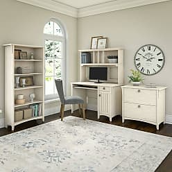 The Gray Barn Lowbridge Mission Desk with Hutch, Lateral File Cabinet and 5 Shelf Bookcase in Antique White (Desk, Lateral File and 5 Shelf Bookcase)