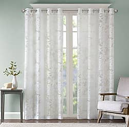 Madison Park Sheer Curtains for Bedroom, Coastal White Sheer Curtain for Living Room, Leilani Coastal Fabric Grommet Curtain Sheers, 50X63, 1-Panel Pack
