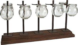 Creative Co-op Wood and Metal Votive Holder or Vase