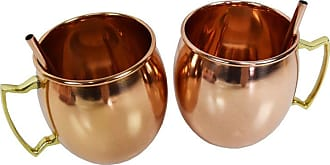 Oakland Living Smooth 17 oz. Copper Moscow Mule Cups with 2 Straws - Set of 2 - ZMUG-SMOOTH-ROUND-CO