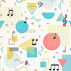 Lar Adesivos Papel de Parede Infantil Música Notas Musicais Adesivo N4296