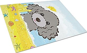 Large Carolines Treasures BB1817LCB Halloween Silver Gray Poodle Glass Cutting Board Multicolor