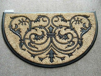 Geo Crafts Rubber Back Monarch Half Round Doormat, 18 by 30-Inch