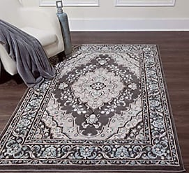Home Dynamix 6531-451 Oxford Caspian Traditional Area Rug 52x72, Oriental Medallion Gray