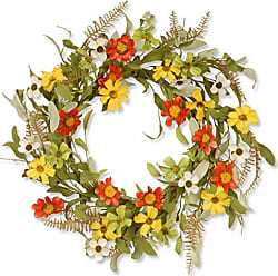 National Tree Company National Tree 20 Inch Floral Wreath with Red and Yellow Sunflowers (GAF30-20WSRL)