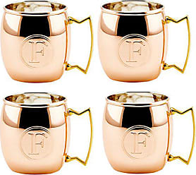 Old Dutch International Solid Moscow Mule Mug, 16-Ounce, Monogrammed F, Copper, Set of 4