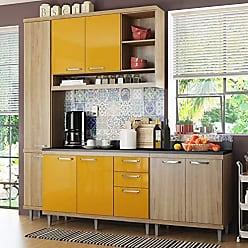 Multimóveis Cozinha Completa com Balcão com Tampo 5 Peças 8 Portas Sicília Multimóveis Argila/Amarelo