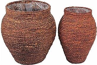 Benzara BM164864 Woven Patterned Sea Grass Basket, Set Two, Brown
