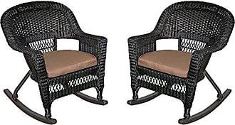 Jeco W00207R-D_2-FS007 Rocker Wicker Chair with Brown Cushion, Set of 2, Black