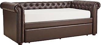Weston Home Quinn Tufted Chesterfield Daybed and Trundle Beige Linen, Size: Full - 68E208DSF-BLA1[BD]