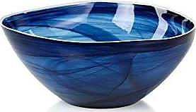 Zodax Monte Carlo 9.75 Diameter Large Glass, Indigo Alabaster (Set of 2) Decorative Bowls, 2 Piece
