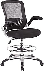 Office Star Breathable Mesh Back and Padded Mesh Seat Drafting Chair with Flip Arms and Silver Accents, Black