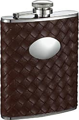 Visol Products VisolJames Stainless Steel Hip Flask, Weave Pattern, 6-Ounce, Brown