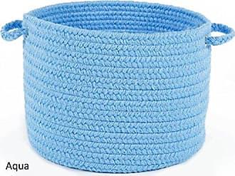 Rhody Rug Fun Braids Solid Aqua Blue 10 x 8 Basket