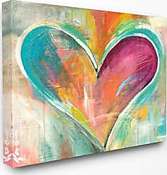 Stupell Industries The Stupell Home Décor Collection Abstract Colorful Textural Heart Painting Stretched Canvas Wall Art, 30 x 40, Multi