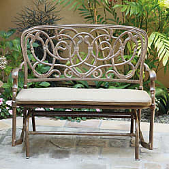 DARLEE Outdoor Darlee Florence Bench Glider with Sesame Patio Seat Cushion - 201026-2/202-AB