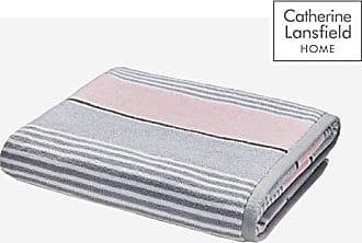 Catherine Lansfield Texturé Rayure Serviette De Bain ocre jaune /& gris 100/% coton
