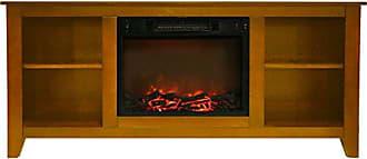 Cambridge Silversmiths CAM6226-1TEK Santa Monica 63 In. Electric Fireplace & Entertainment Stand in Teak w/ 1500W Charred Log Insert