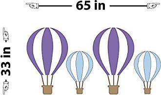 The Decal Guru Hot Air Balloons Wall Decal (Purple & Light Blue, 33 (H) X 65 (W))